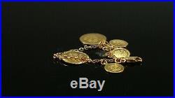 22k Bracelet Solid Gold Simple Charm Ladies Floral Coin Design B4047