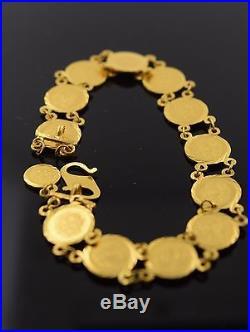 22k Solid Gold ELEGANT COIN Bracelet ANTIQUE DESIGN length 7.7 Inch CB100