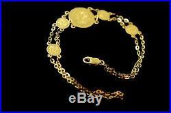 22k Solid Gold ELEGANT Classic Ladies Floral Coin BRACELET Size 7.5 inch b907