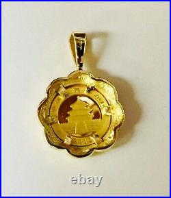 24K CHINESE PANDA BEAR COIN IN 14K Solid Yellow Gold Coin Charm Pendant