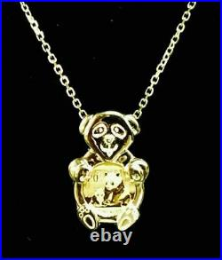 24K CHINESE PANDA BEAR COIN SET IN 14K Solid Yellow Gold Bear Coin Charm Pendant
