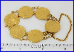 24K Lady's Solid Yellow Gold Eagle Coin Bracelet 30.3 grams 6.5
