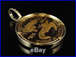 24K Solid Yellow Gold Coin Lady Liberty Half Ounce Diamond Pendant Charm 2.0ct