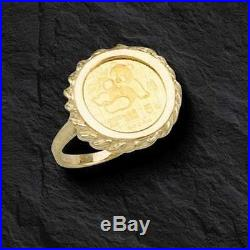 24 Kt Chinese Panda Bear Coin Set In 14 Kt Solid Yellow Gold Coin Ring