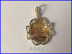 24k Chinese Panda Bear Coin Set In 14k Solid Gold Coin Charm Pendant