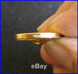 25 Dollar Australian 1/4 oz. 9999 gold coin in solid 14kt gold bezel