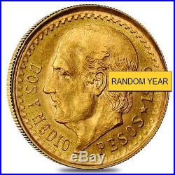 2.5 Pesos Mexican Gold Coin AGW. 0603 oz AU/BU (Random Year)