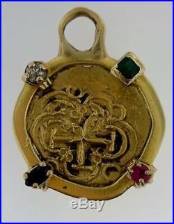 2 Escudo Gold Shipwreck Cob CoinColombiaPhillip V (1694-1713) PendantStones