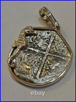 2 Reales Replica ATOCHA Coin SEAHORSE Pendant SOLID 14K GOLD & SILVER