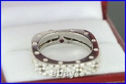 $4700 Roberto Coin Pois Moi 18K White Gold Pave Round Diamond 1 Row Square Ring