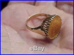 #559 Mexico 2 ½ Peso Solid Gold 15 MM Coin 14k Ring 6 Grams 22k & 14k Investment