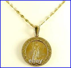 5 Dollar 2005 LIBERTY 22k Solid Gold Coin set in 14k Solid Gold PENDANT New