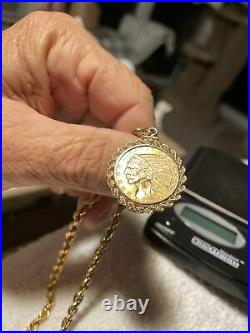 $5 indian head eagle pendant coin with 10k solid gold 24 Inch rope chain