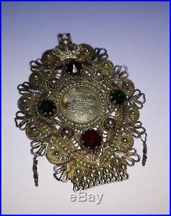 ANTIQUE RUSSIAN CROWN 19th OTTOMAN TURKISH GOLD COIN FILIGREE PENDANT ENGRAVING