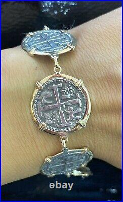 ATOCHA Silver Coin Bracelet 8Long In 14Kt Solid Gold Bezel