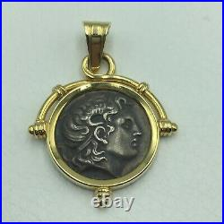 Alexander The Great Coin Pendant 14k Solid Gold And 925 Sterling Silver