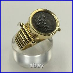 Alexander The Great Coin Ring 14k Solid Gold 925 Sterling Silver