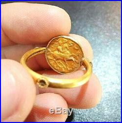 Ancient God Venus Holding Wand Knight Riding Horse Coin Solid 22k Gold Ring