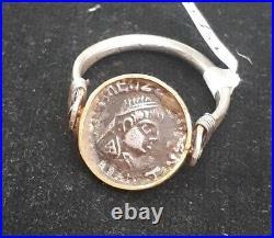 Ancient Greek Coin King Caesar God Venus 22K Gold Band Sterling Silver Ring