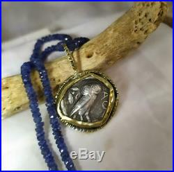 Ancient Greek Coin Pendant Silver Rare 18K Solid Gold Athena 353-294 BC Owl Blue