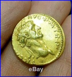 Ancient Roman Empire Claudius proclaims IMPERator RECEPTus Solid 22k Gold Coin