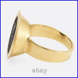 Ancient Roman Siliqua Coin Signet Ring 18k Gold c1820