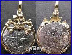 Anne Bonny 14K Solid Gold Skull Girl Bow Shipwreck Treasure Coin Replica Pendant