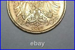 Antique 1897 22K Solid Gold Austria 10 Corona Coin Rare Collectible Coinage