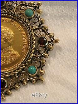 Antique Portugal Pendant 15K Solid Gold Bezel with 22K Plated Sterling Coin