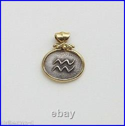 Aquarius Pendant 14K Solid Gold Pendant & Sterling Silver Coin Zodiac January