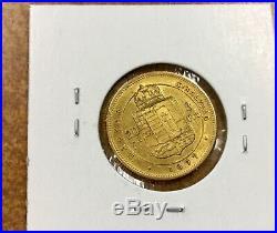 Austria 1877 Gold 8 Florins 20 Francs nice coin. 1867