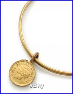 Auth Vintage CHANEL BANGLE BRACELET 95C Gold Plated CC Logo Coin Charm with Box