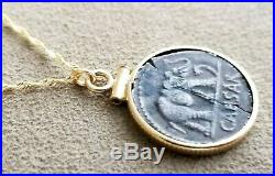 Authentic Julius Caesar Elephant Silver Denarius Coin 14K Solid Gold Necklace