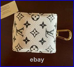 Authentic LOUIS VUITTON Giant Monogram Key Chain Ring Coin Cube Case Pouch Fob