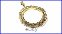 BEAUTIFUL COIN BAZEL CHARM FOR NECKLACE 14K SOLID GOLD With CUBIC ZIRCONIA
