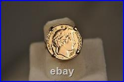 Bague Ancien Or Massif Porte Bonheur Piece 10fr Antique Solid Gold Coin Ring