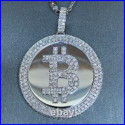 Bit Coin Crypto Currency Diamond & White Gold Solid Pendant 6.5 Carats TW