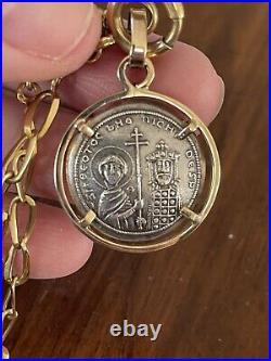 Byzantine Empire Constantine Rare Silver Coin in 14ct solid gold setting & chain