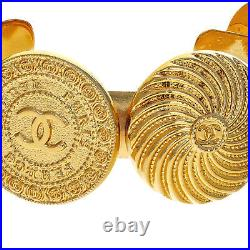 CHANEL 6 Coin Medallion Charm Coin Cuff Bracelet, Gold Tone Hardware