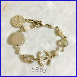 CHANEL BRACELET Gold Stone Pearl Gold CC Logo Gold Coin A14C Authentic France