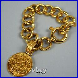 CHANEL Bracelet Bangle AUTH logo coco mark Coin Gold 7.08in Vintage Rare Old F/S
