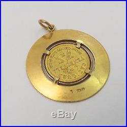 Caciques Venezuela Tamanco 21K Gold Coin 18K Frame Charm Pendant 4.4gr