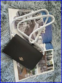 Coach Hayden Foldover Crossbody Clutch in Black Pebble Leather with Gold Accent