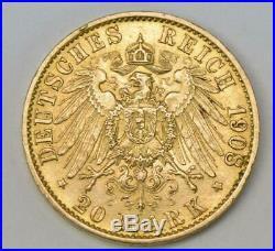 Coin Münze 20 Mark Ernst Ludwig Grossherzog von Hessen 1908 A Jäger 226
