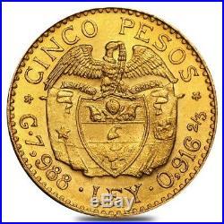 Colombia Gold 5 Pesos Coin Avg Circ AGW. 2355 oz (1919-1930, Random)