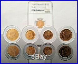 Denmark Rare Lot 5 X Solid Gold Coins 21.6 Kt Scarce Mintage 31.36gr Ngc Ms64