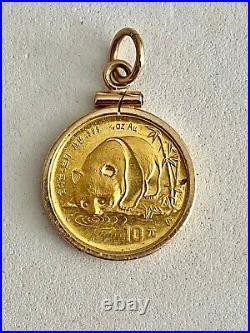 Discount. 999 Fine Gold Panda Coin Encased In Solid 14k Gold Bezel, See Gold