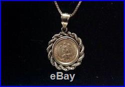 Dos Pesos Pendant Fine Gold 14k Rope Bale 22k solid Gold Dos Pesos Coin 1945