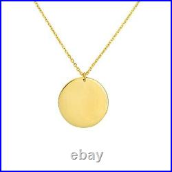 Double Coin Necklace Engravable Disc Pendant Layered Chain Women 14K Solid Gold