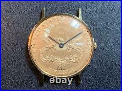 Eska 18K Solid Gold Coin Watch 18K 11-214 A Manual Winding Watch